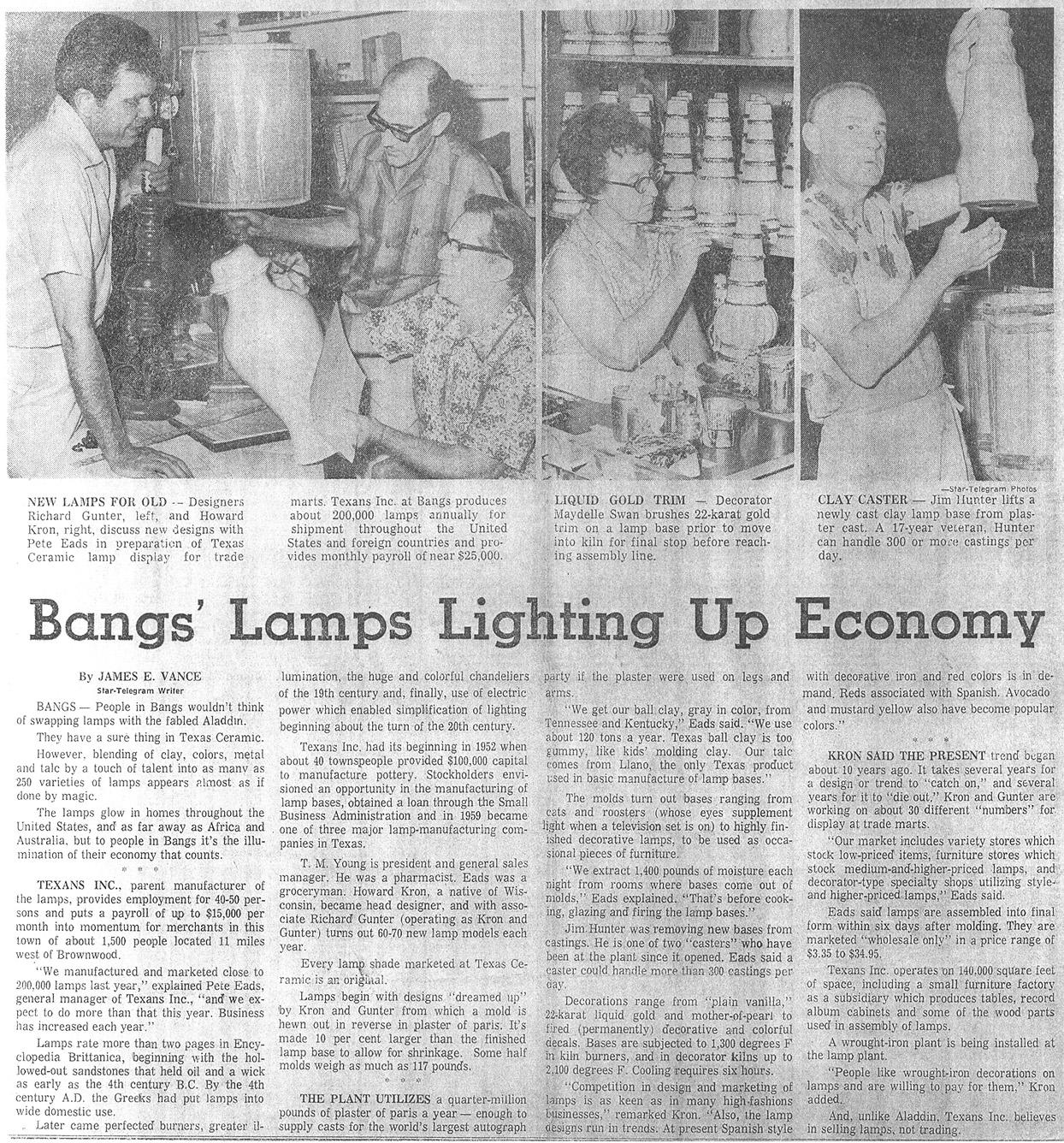 Texans Inc: Newspaper Articles